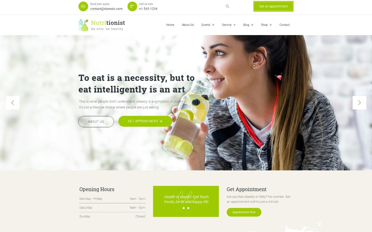 Nutritionist - Health and Nutrition Multipurpose Elementor WordPress Theme
