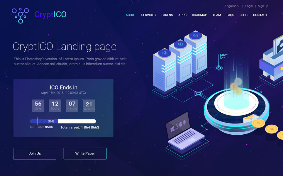 CryptICO - Bitcoin, ICO and Cryptocurrency Landing Page PSD Template