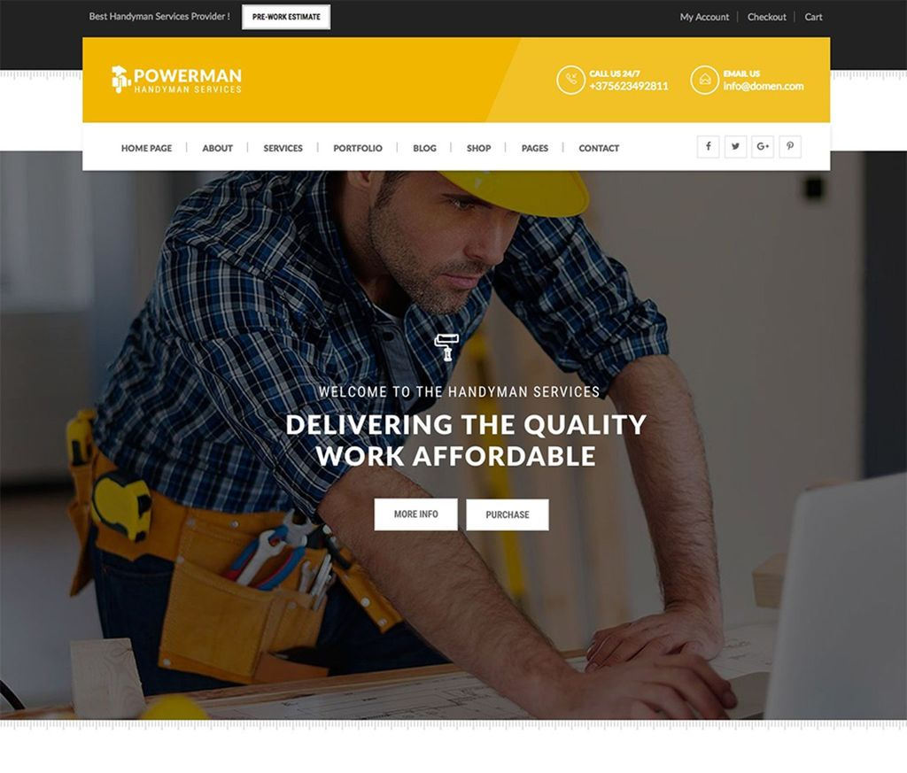 Powerman - Handyman Website Template