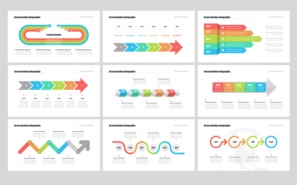 Timeline Arrows Templates for Keynote Template