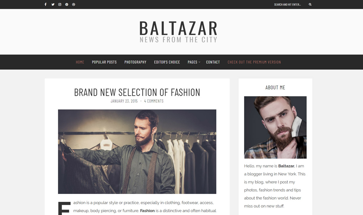 Baltazar - A  Masculine Blog WordPress Theme