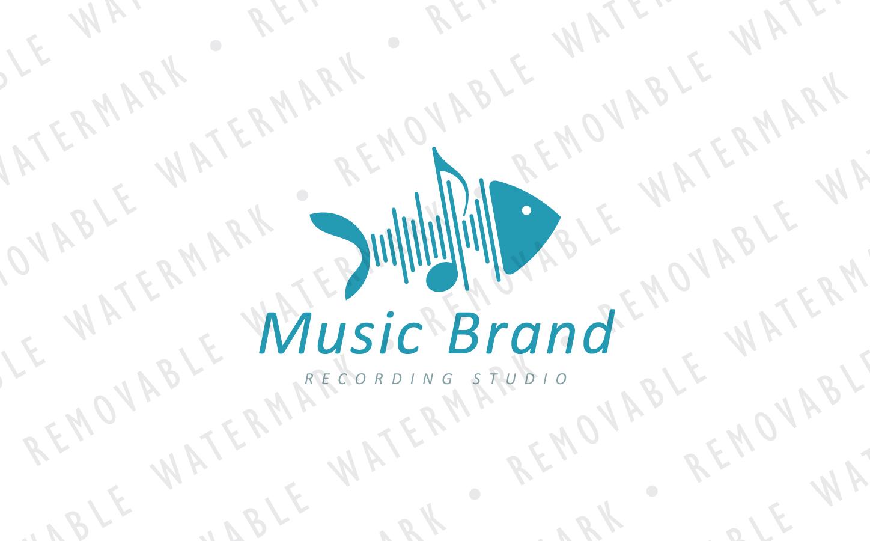 Sound Wave Fishbone Logo Template