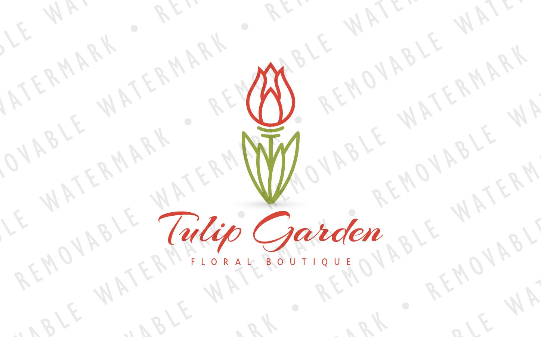 Tulip Flower Logo Template