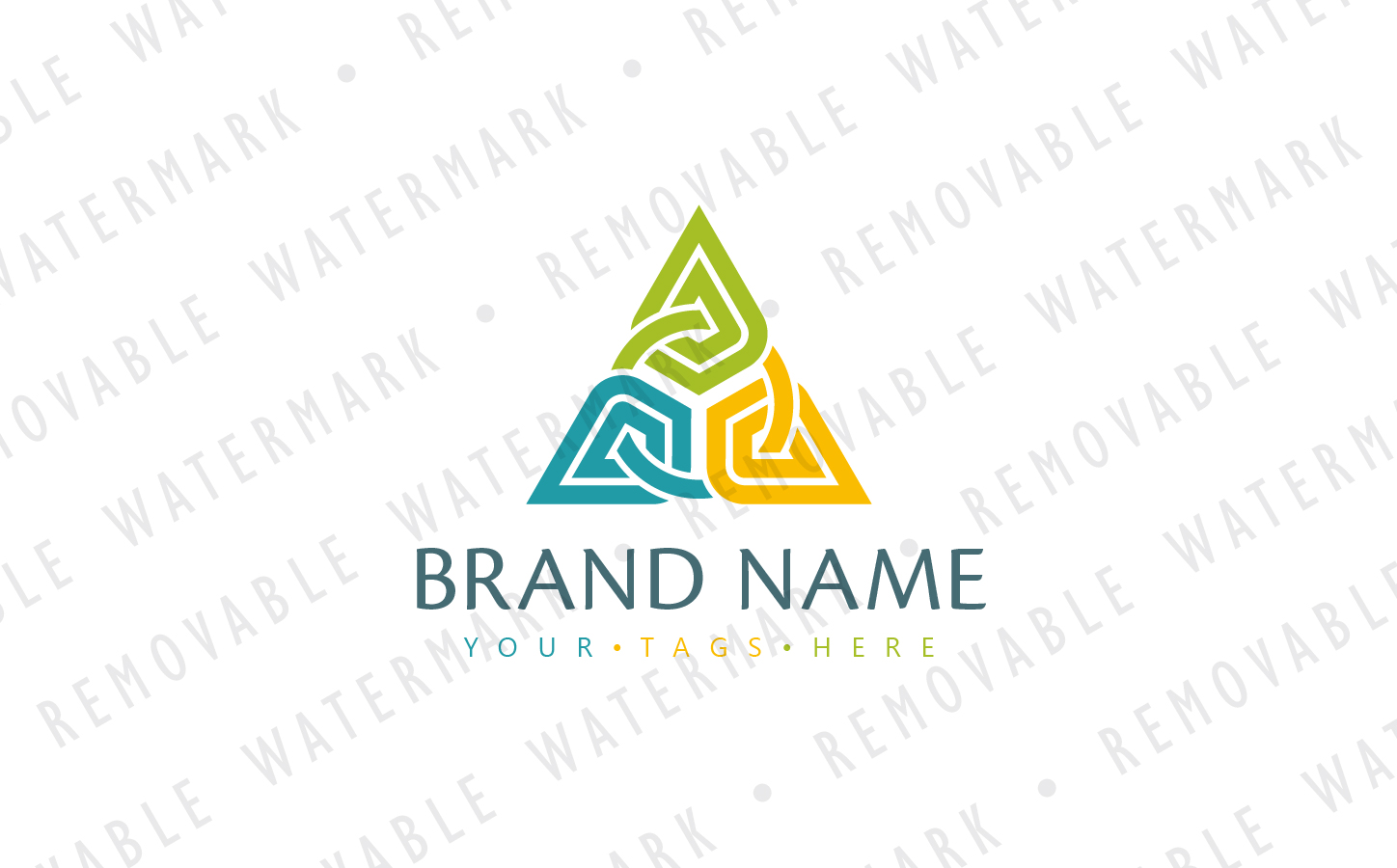 Abstract Chained Triangle Logo Template