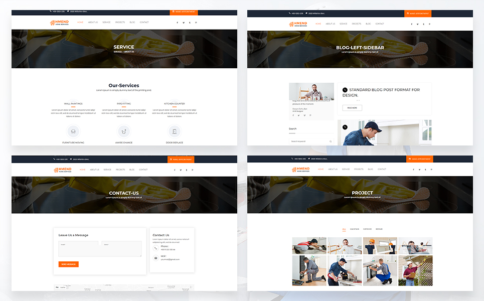 Hmend – Home Maintenance, Repair Service Website Template
