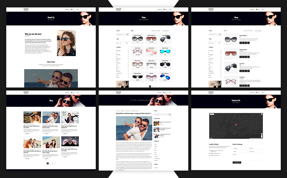 Glassesco - Glasses eCommerce Bootstrap4 Website Template
