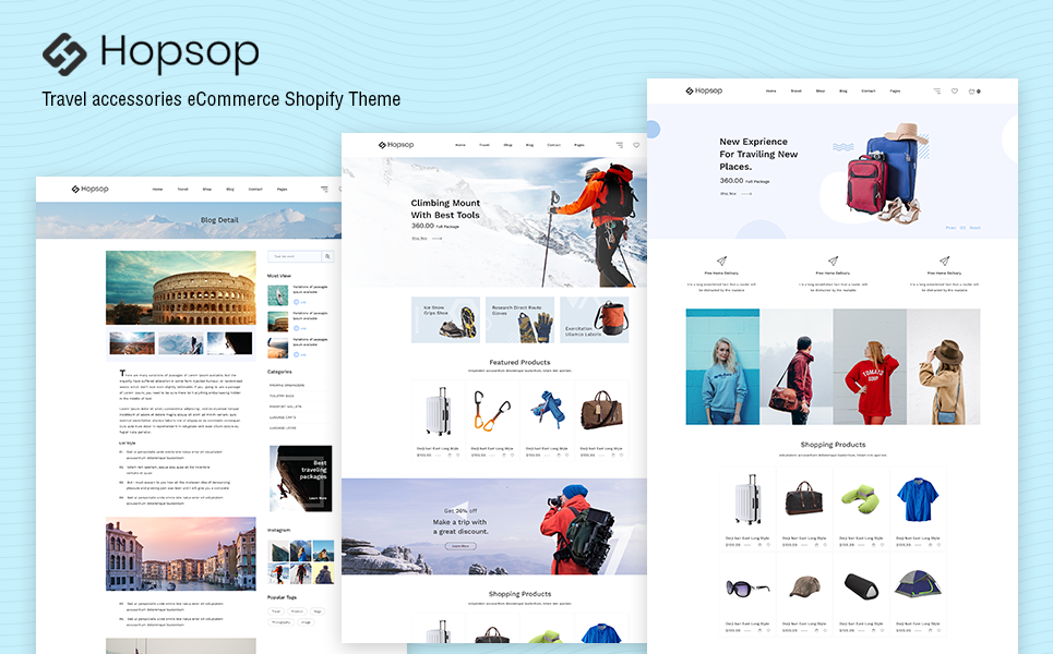 Hopsop - Travel Accessories Shopify Theme