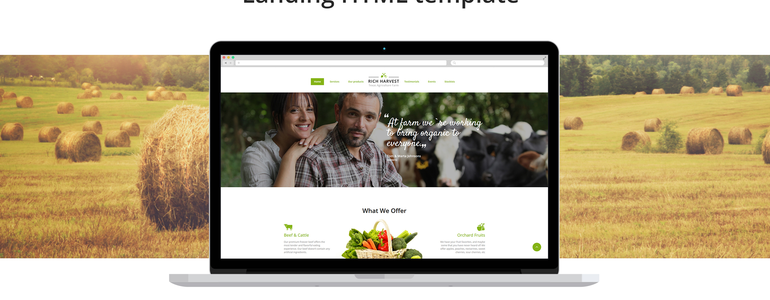 Rich Harvest - Farming HTML5 with Built-In Novi Builder Landing Page Template