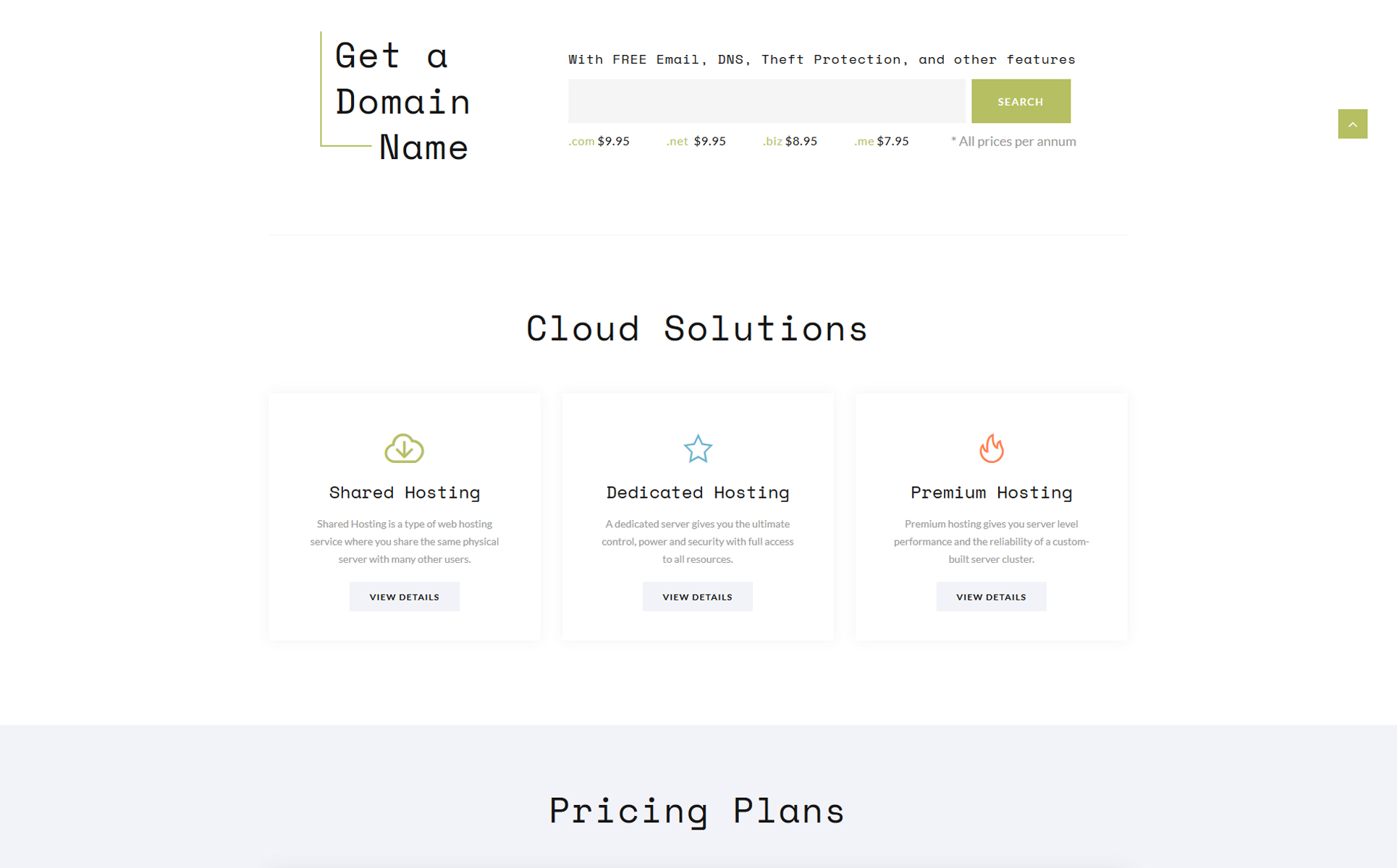 Cloud - Domain and Hosting Multipage Website Template