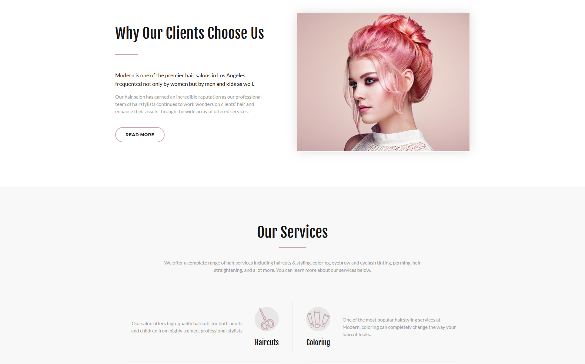 Modern - Vivid Hair Salon Multipage Website Template