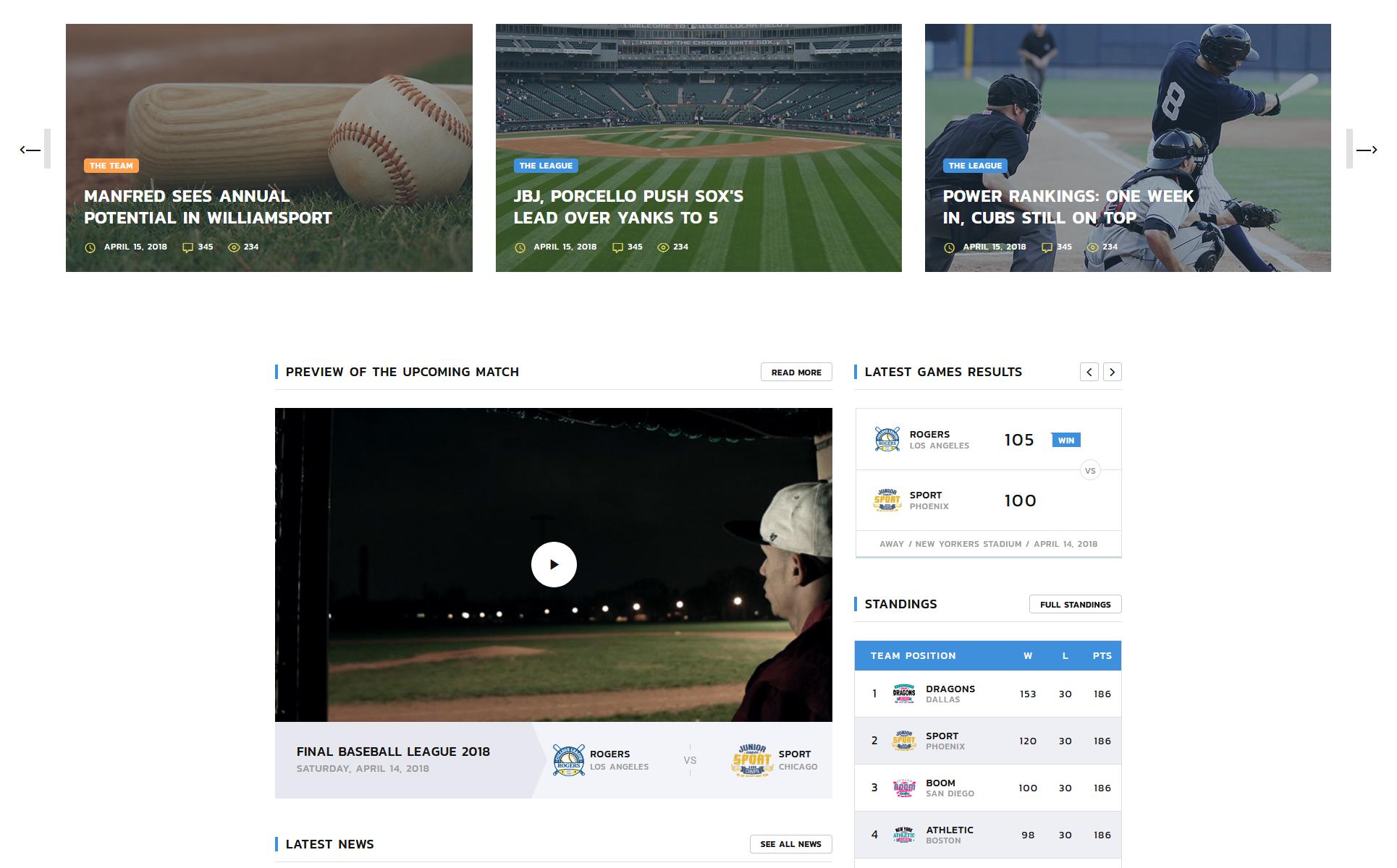 Rogers - Baseball Team Multipage HTML5 Website Template