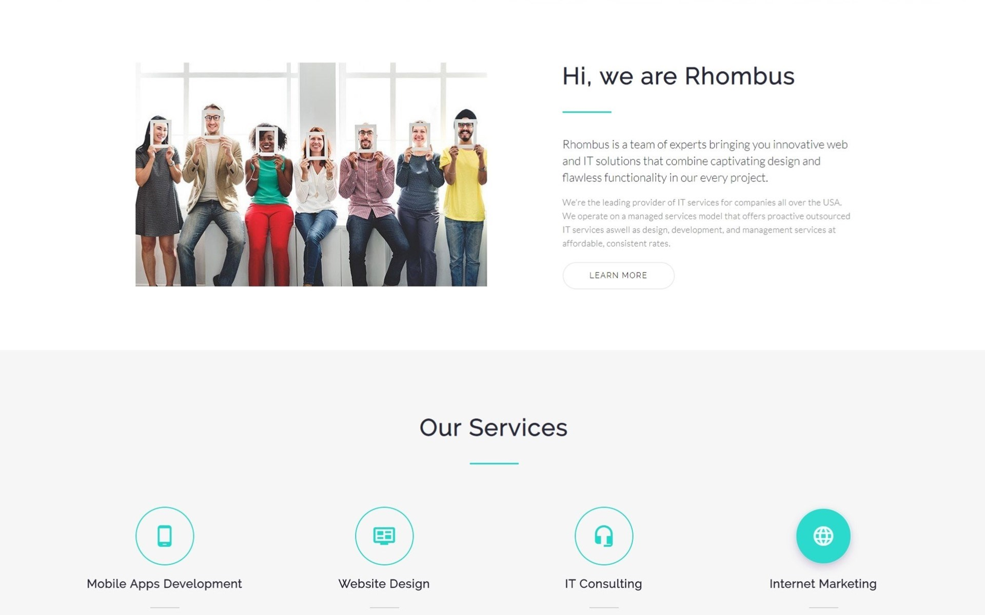 Rhombus - Minimalistic IT Solutions Company Landing Page Template