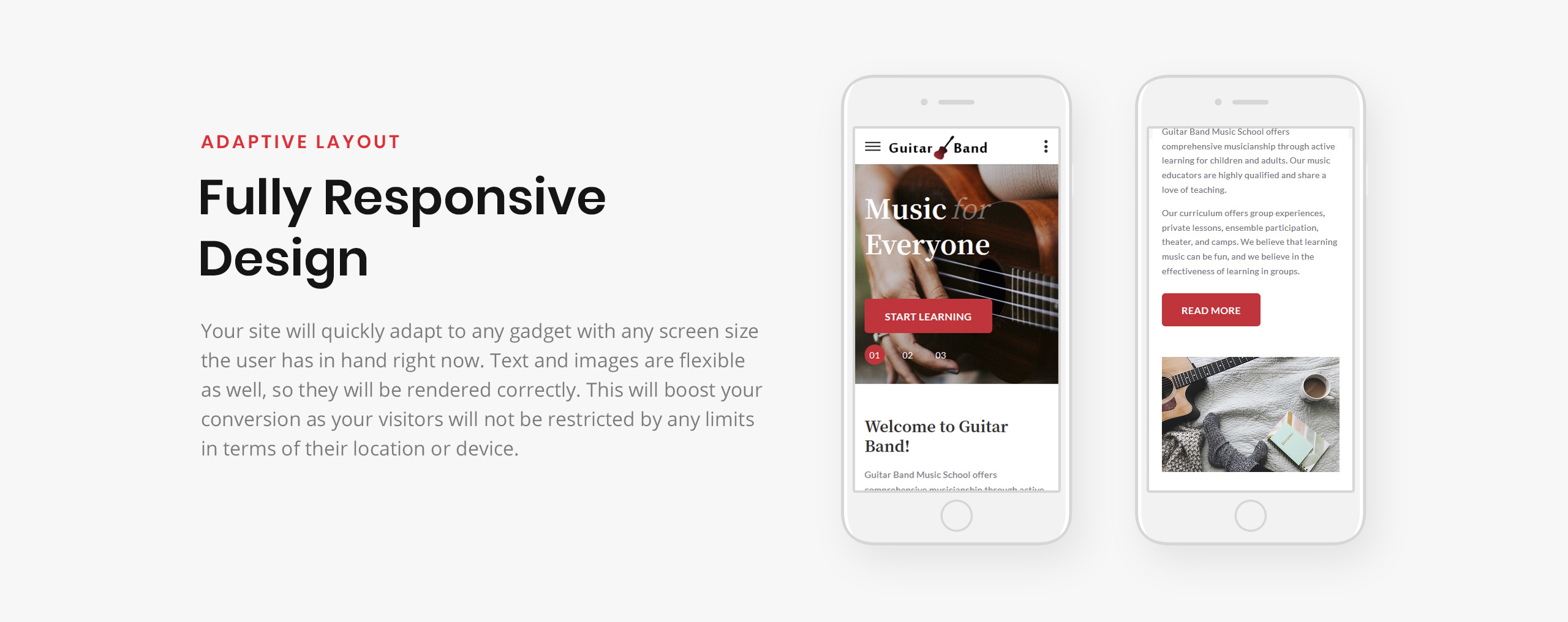 Guitar Band - Cool Music School HTML Landing Page Template