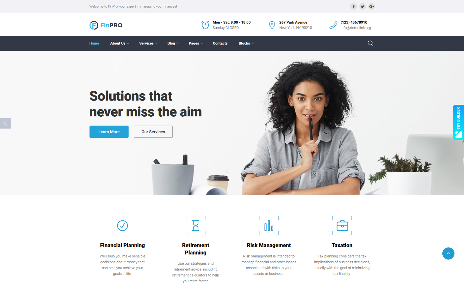 FinPRO - Financial Ready-to-Use Website Template