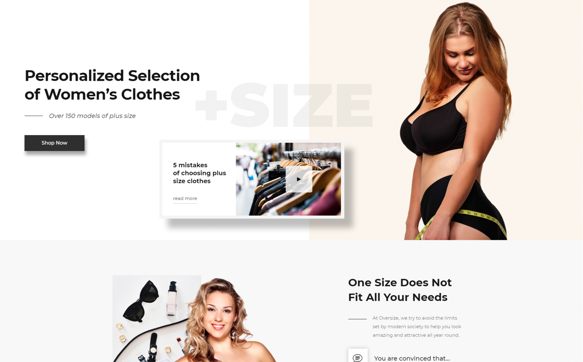 Oversize - Fashion One Page Clean Bootstrap HTML Landing Page Template