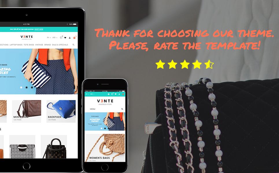 Vente - Handbag Store Clean Bootstrap Ecommerce PrestaShop Theme