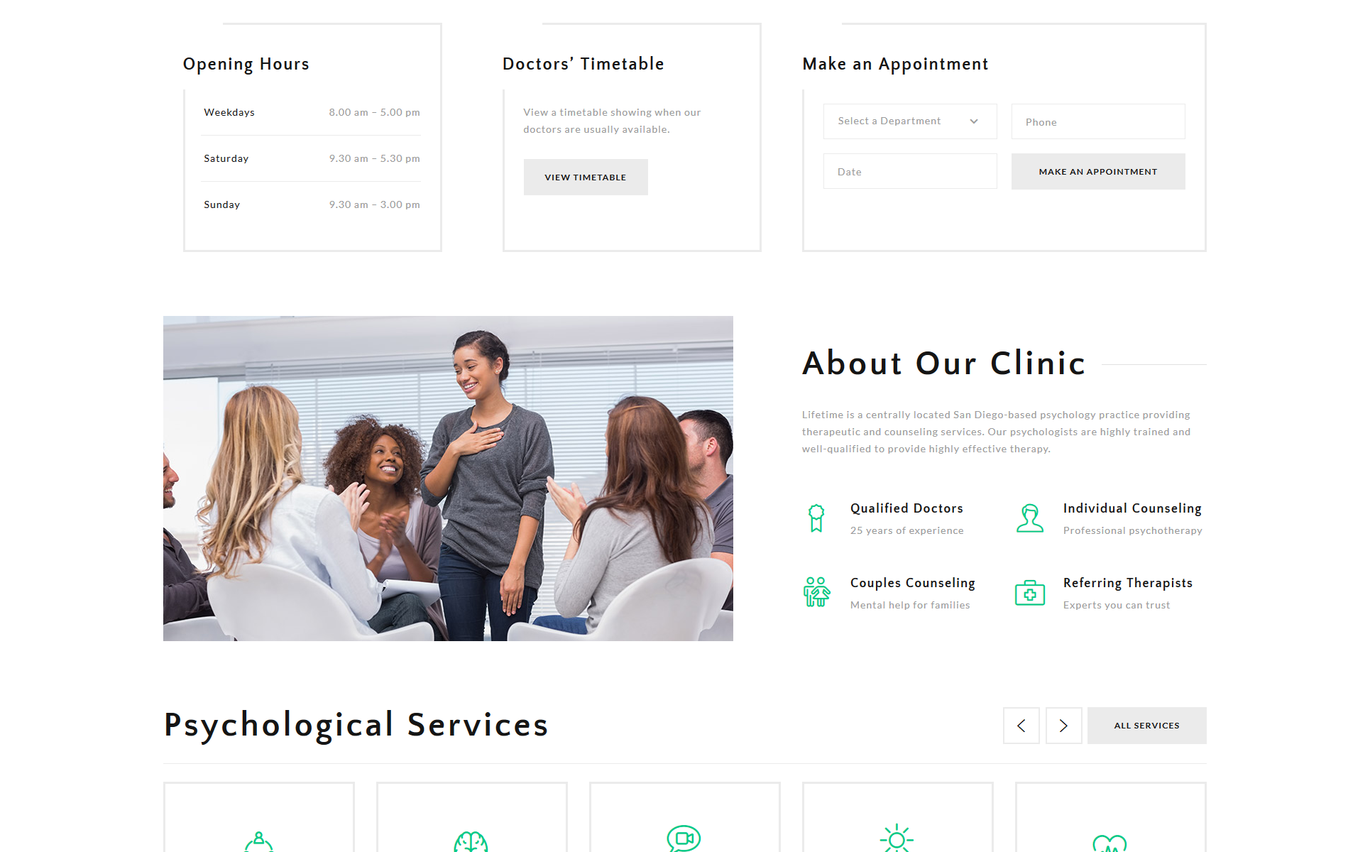 Lifetime - Psychologist Clean HTML Landing Page Template
