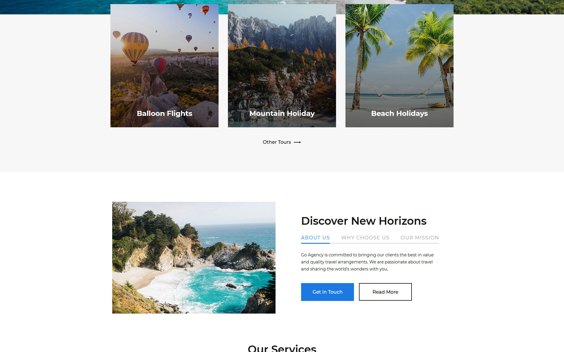 Go Agency - Travel Agency Clean Bootstrap HTML Landing Page Template