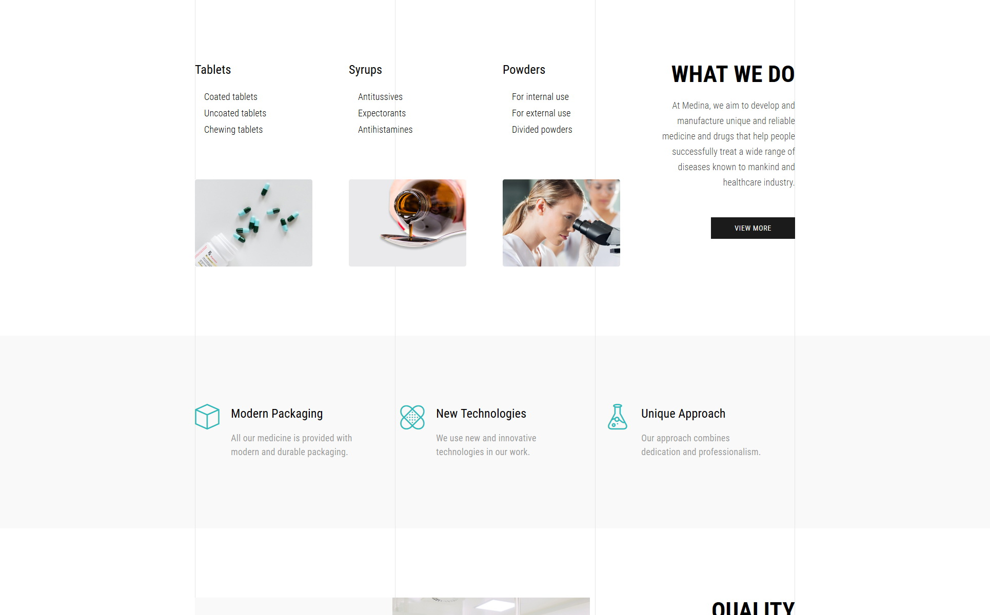 Medina - Pharmaceutical Company Modern HTML Landing Page Template