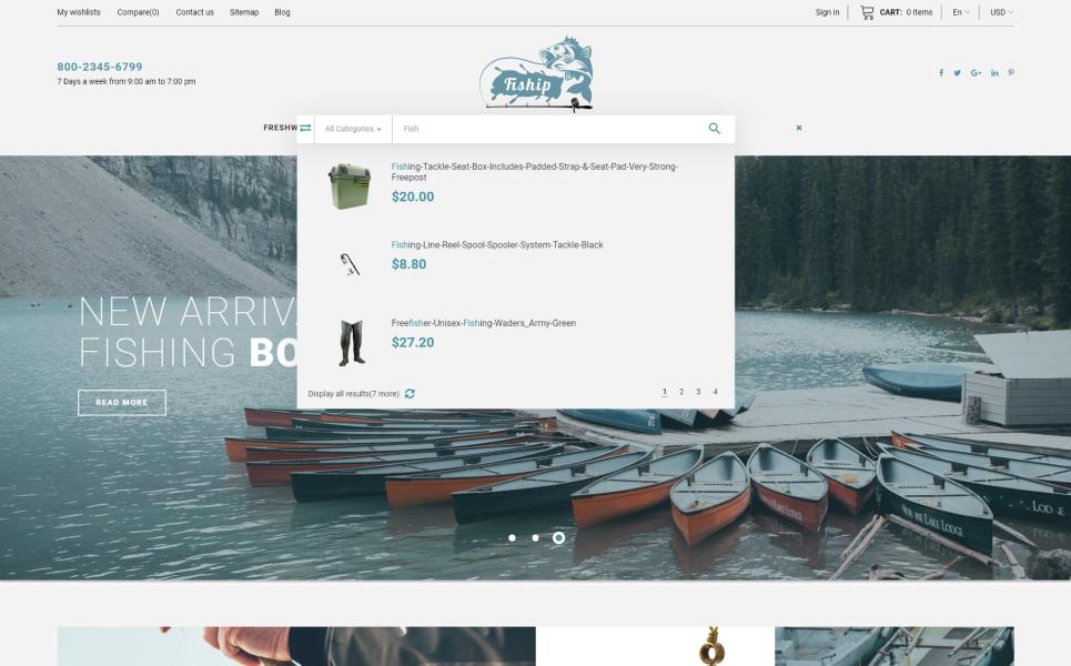Fiship - Fishing Store Template PrestaShop Theme