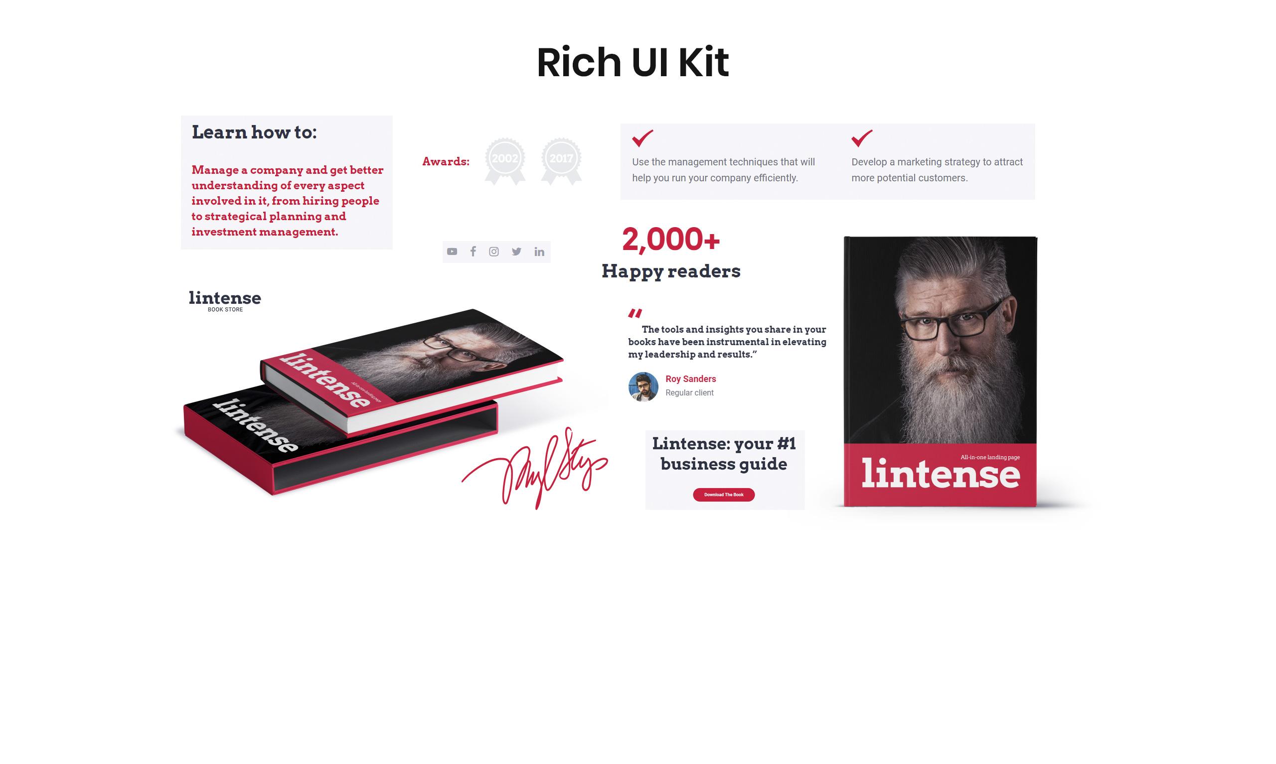 Lintense Book Store - Writer HTML Landing Page Template