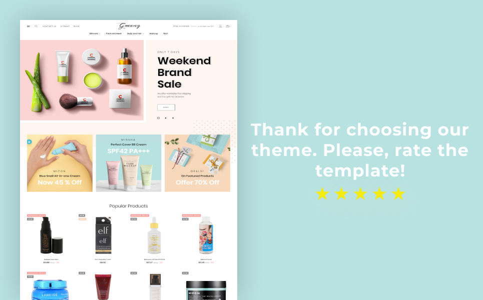 Gwang - Korean Cosmetics Ecommerce PrestaShop Theme
