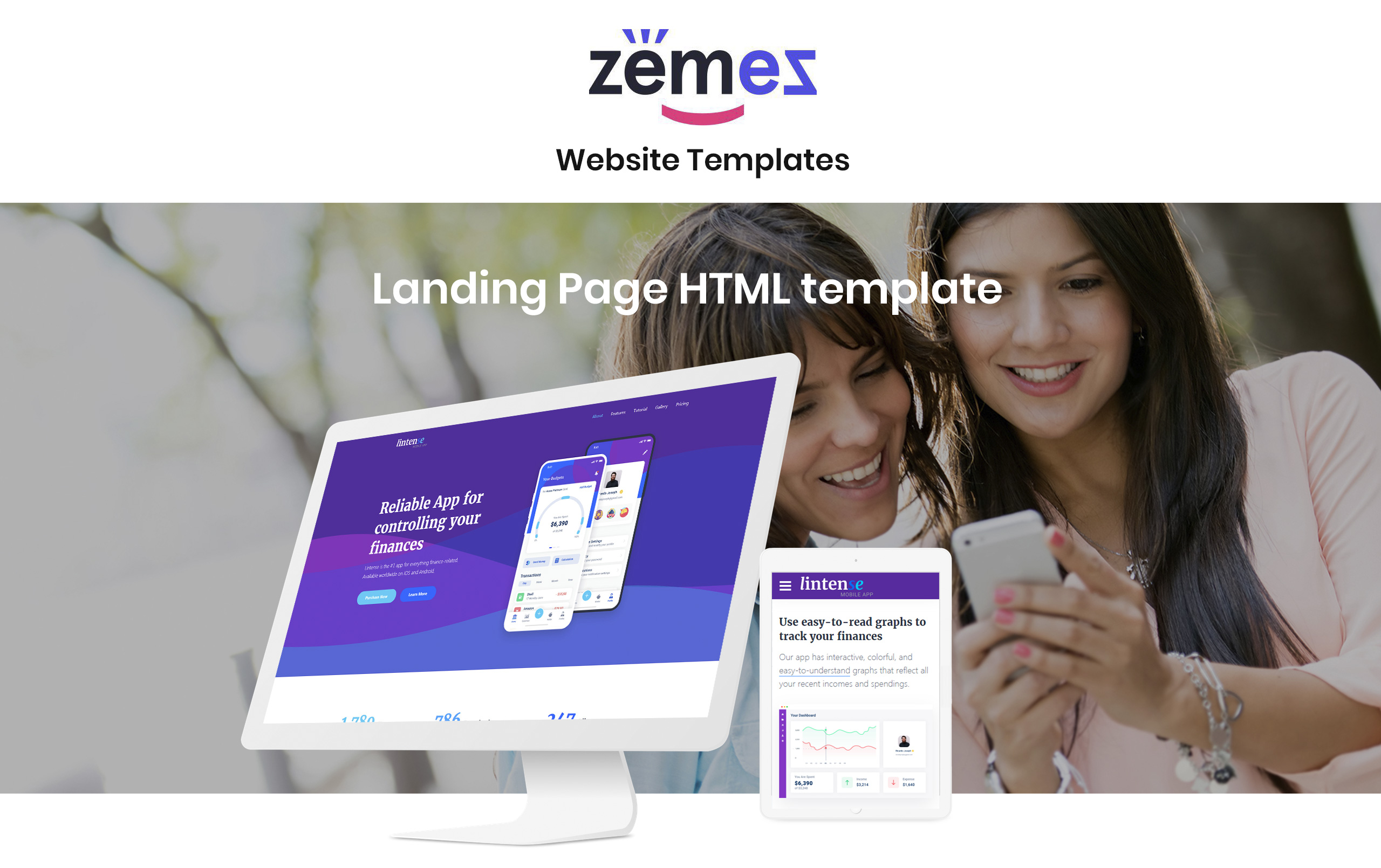 Lintense Mobile App - Software Creative HTML Landing Page Template