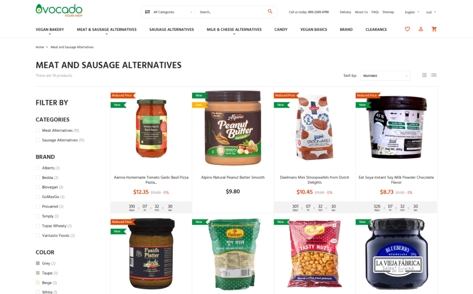 Avocado - Vegetarian Store PrestaShop Theme