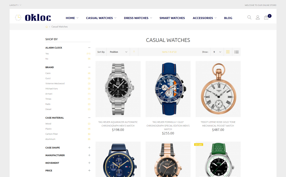 Okloc - Watch Shop Magento Theme