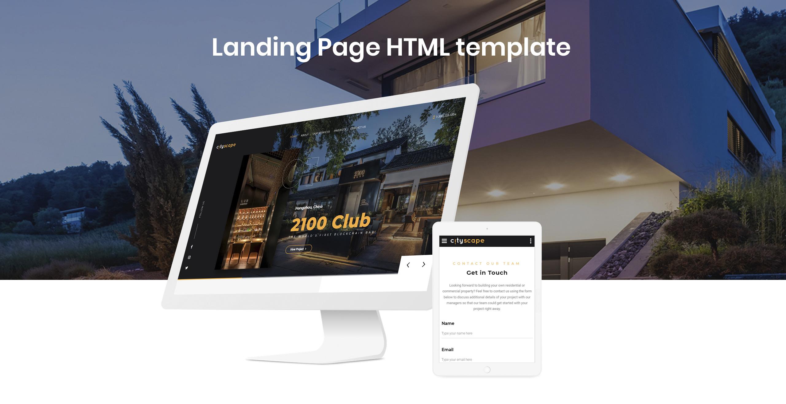 Cityscape - Construction Company Design Landing Page Template
