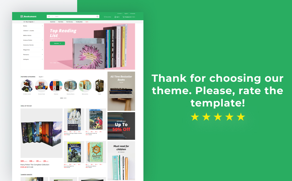 Booksment - Online Bookstore Design PrestaShop Theme