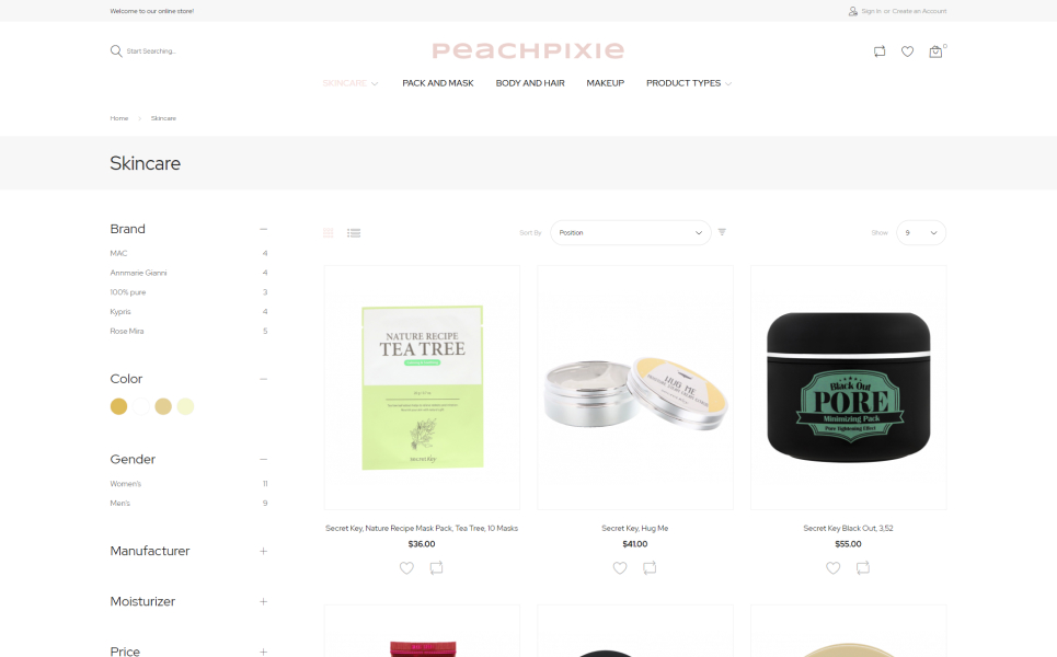 PeachPixie - Korean Cosmetics Website Design Magento Theme