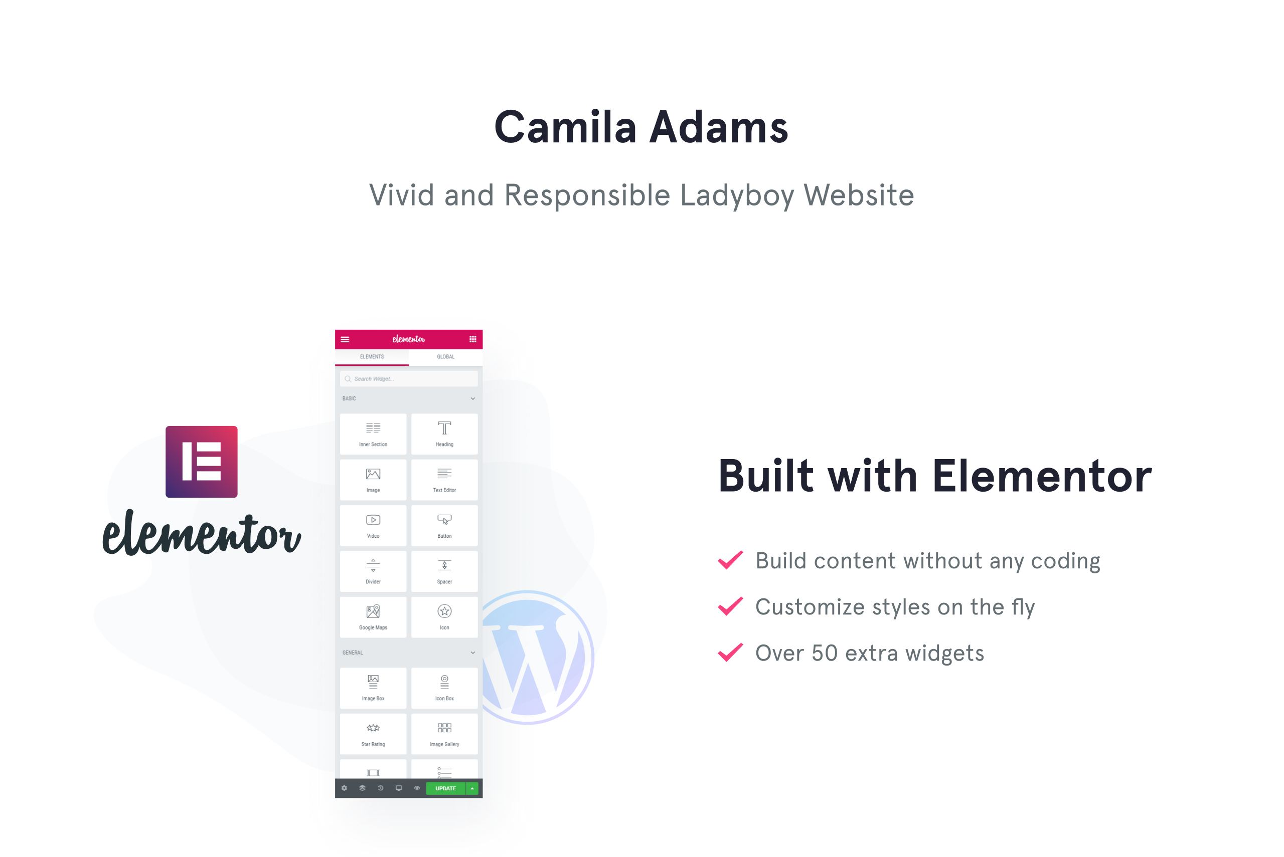Camila Adams - Vivid and Responsive Male Model website WordPress Theme