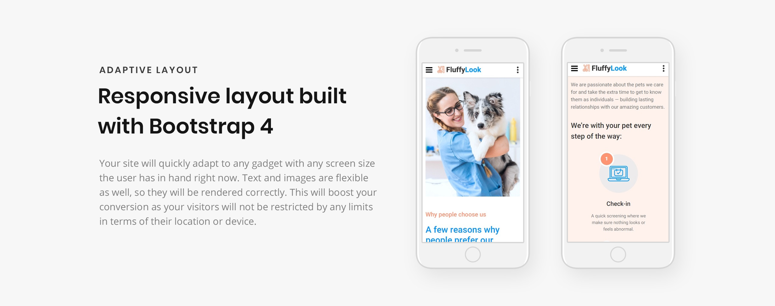 FluffyLook - Pet Grooming Clean Landing Page Template