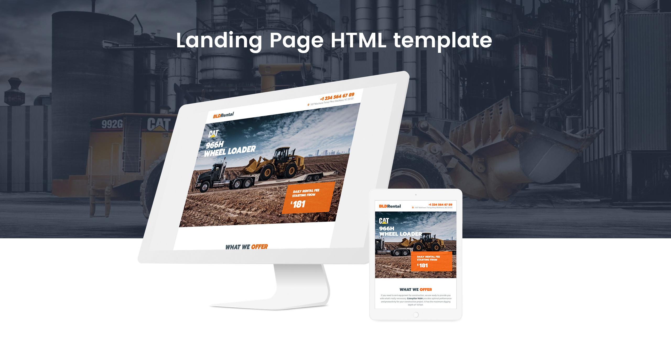BLDRental - Equipment Rental Landing Page Template