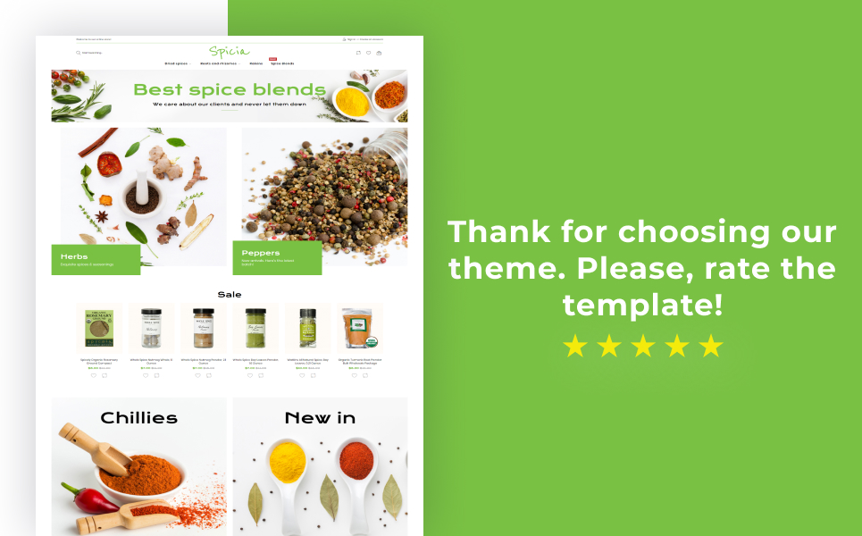 Spicia - Spices Online Store Template Magento Theme