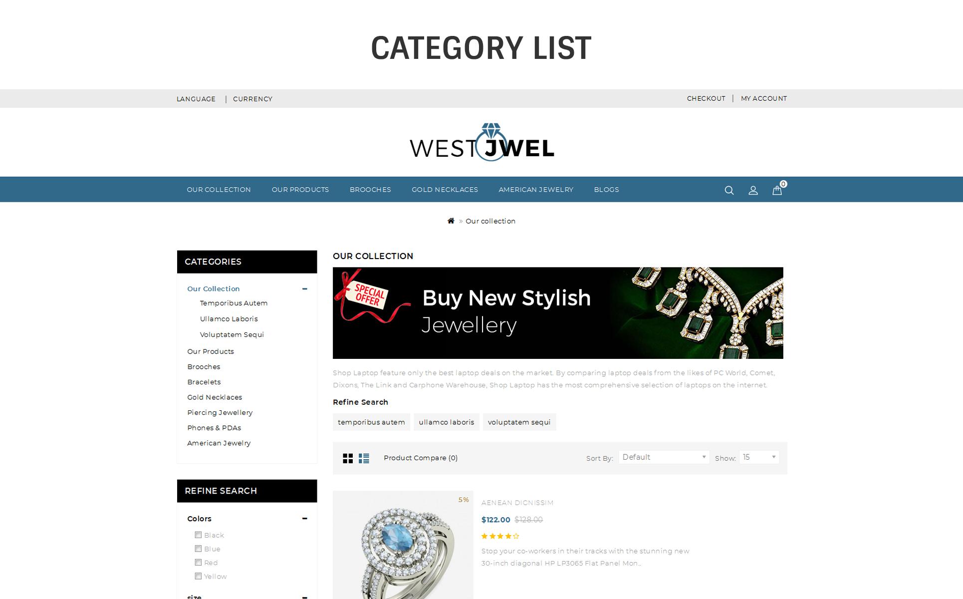 Template 70200 : Westjwel Jewellery - Responsive OpenCart