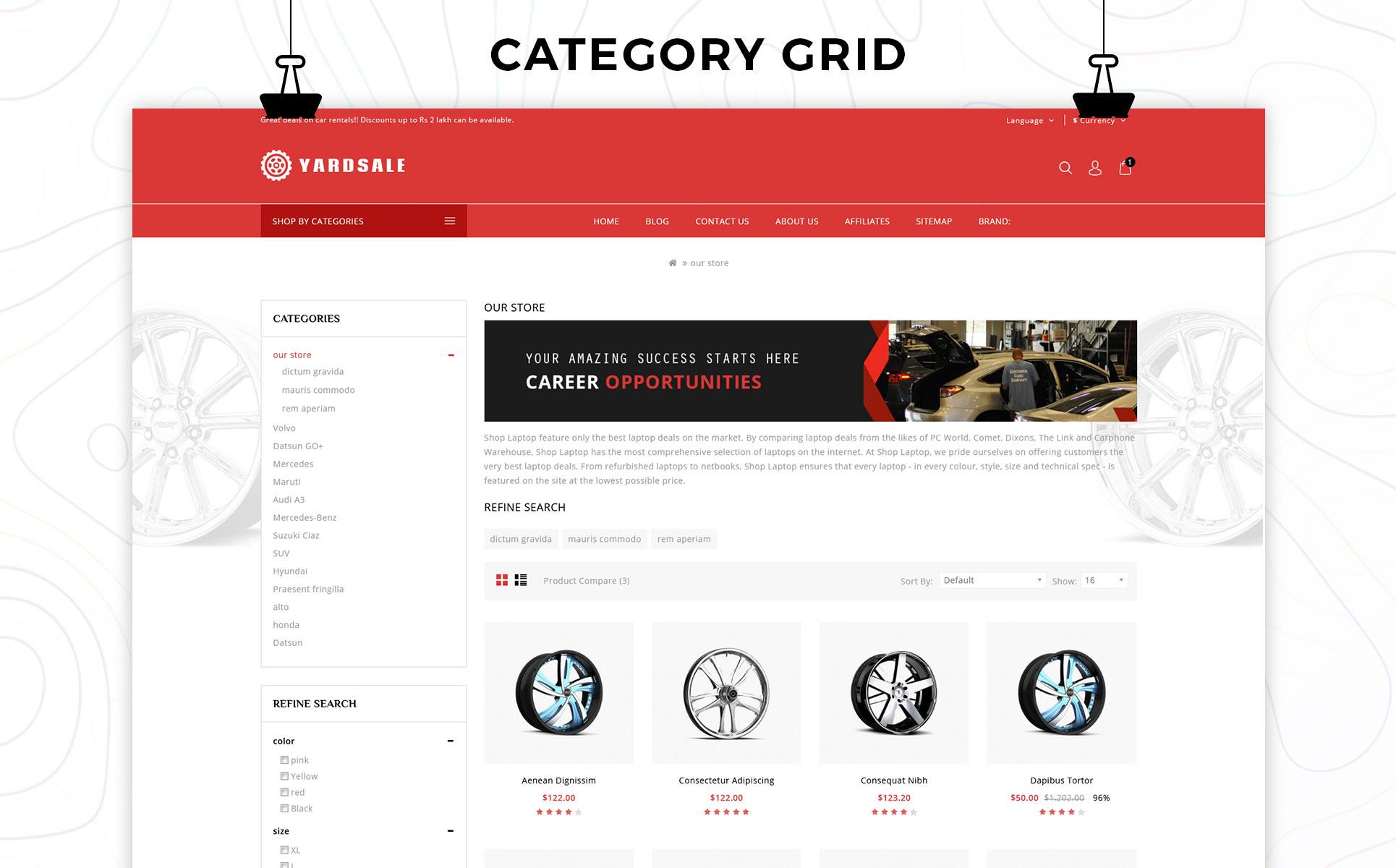Yardsale - Automobile Store Premium OpenCart Template