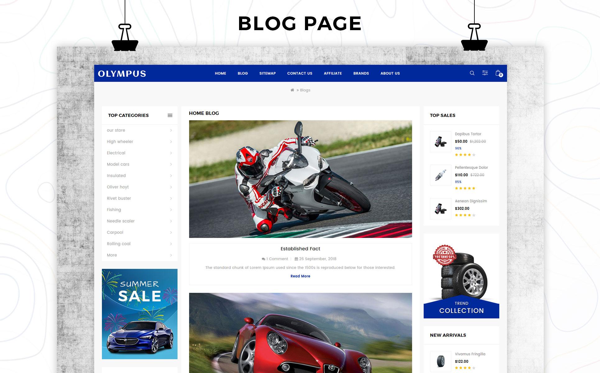 Olympus - Automobile Store Premium OpenCart Template