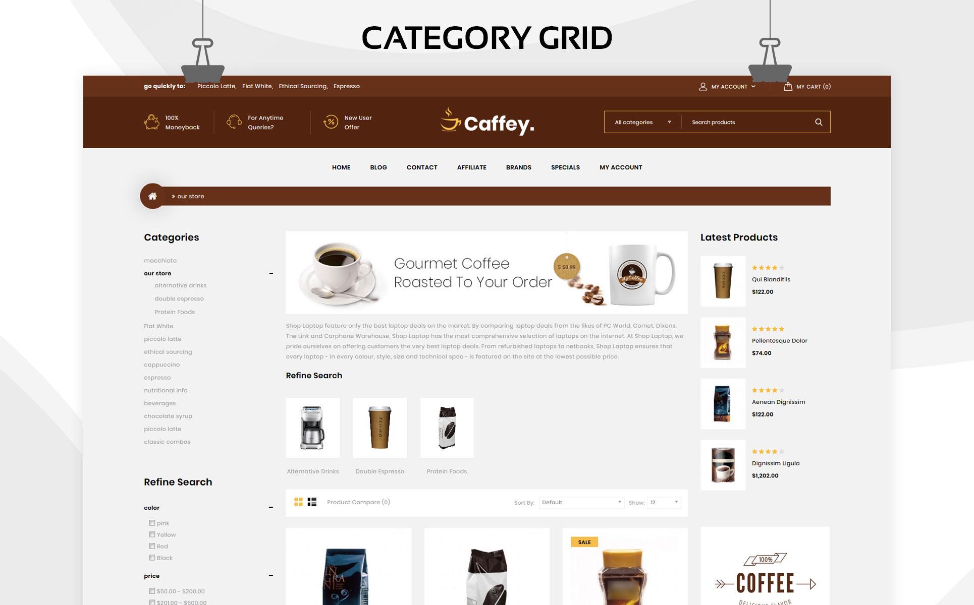 Caffey - The Mega Coffee Shop OpenCart Template