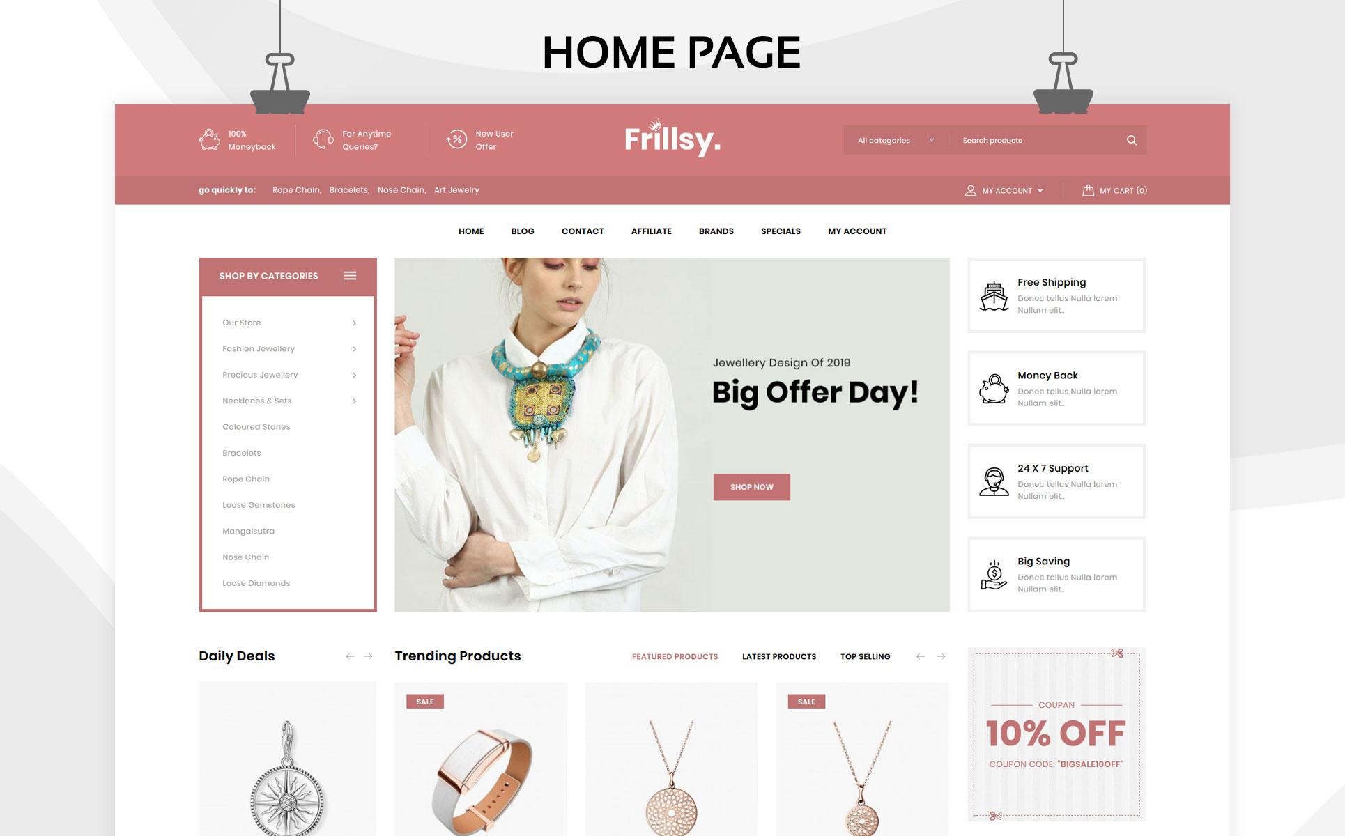 Frillsy - The Jewelry Store Premium OpenCart Template