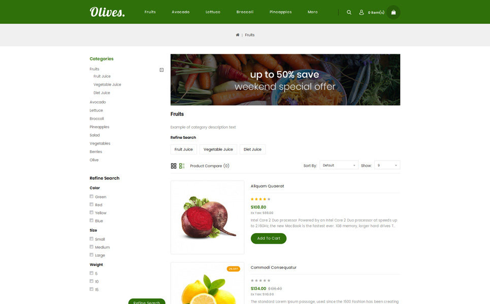 Olives - Organic Store OpenCart Template