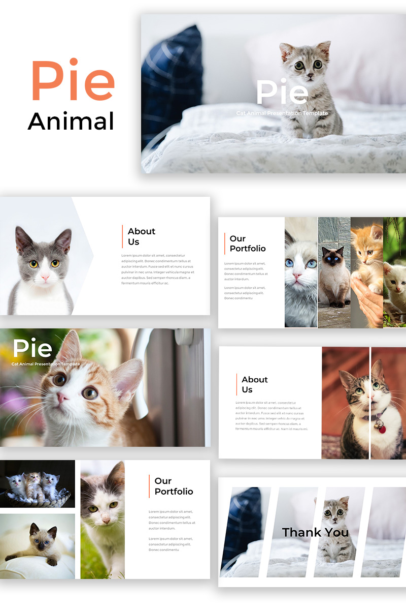 Pie Cat Animal Powerpoint Template