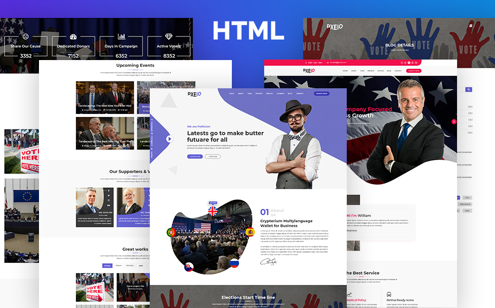 Pxeio - Political Landing Page Template