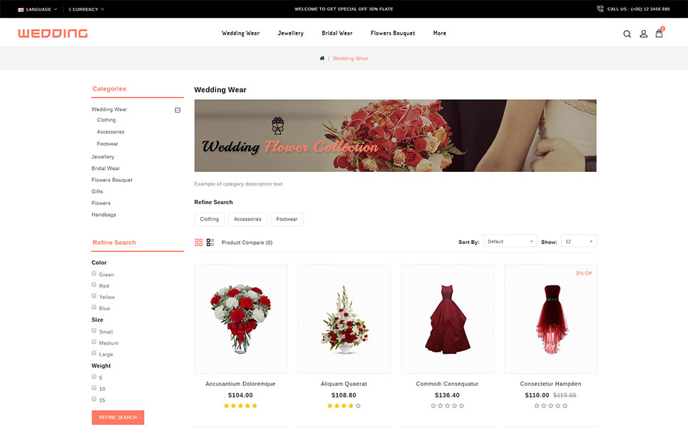 Wedding Collection Store OpenCart Template