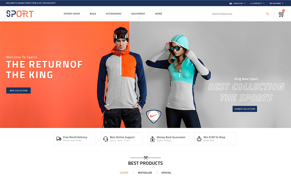 Sports Store OpenCart Template