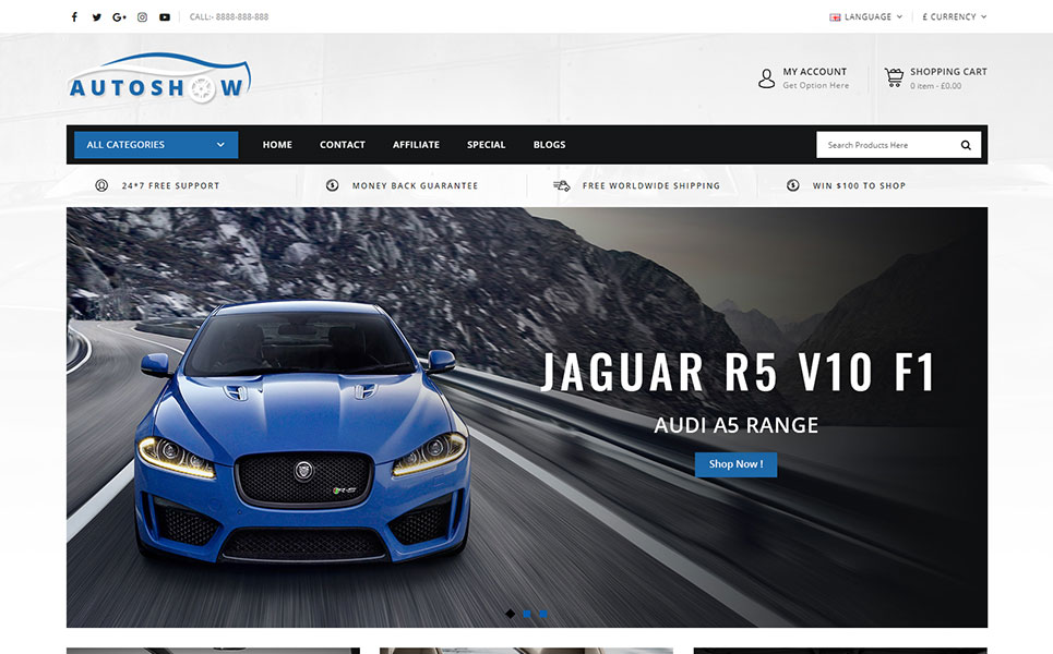 Auto Show - Auto Parts Store OpenCart Template
