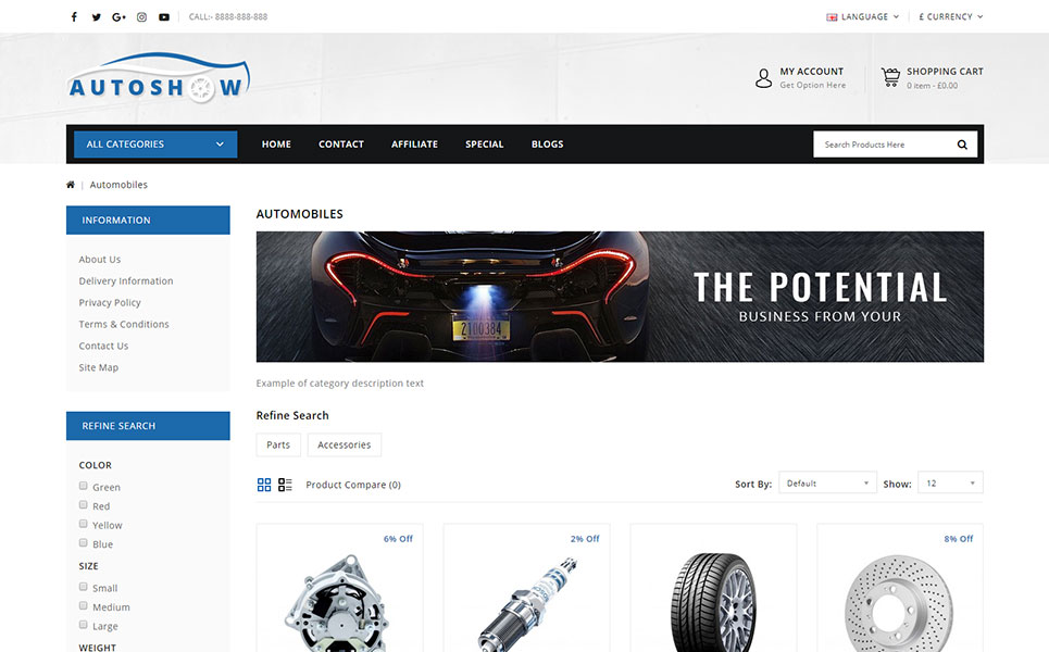 Cars OpenCart Template 74123