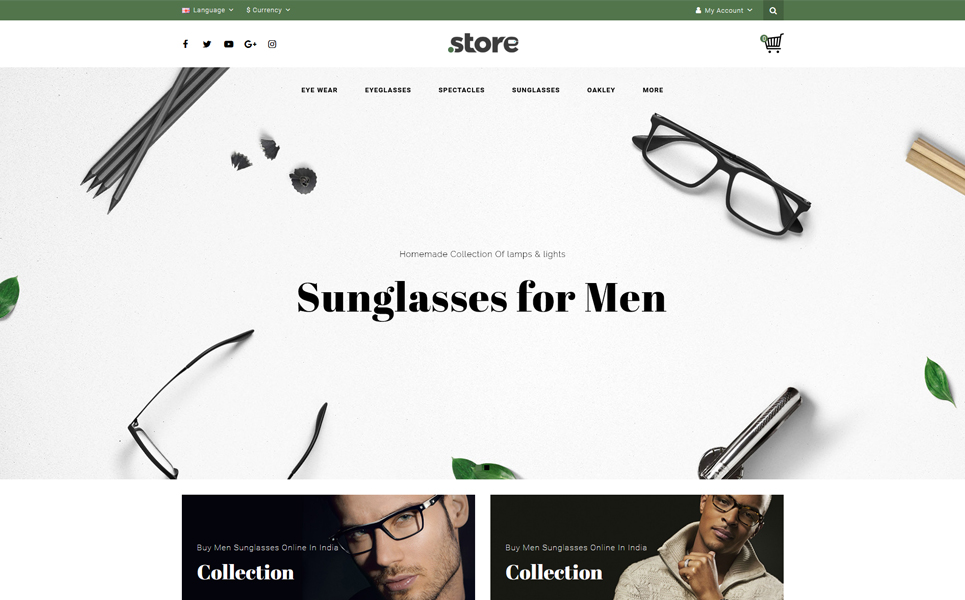 Eye Wear - Glasses Store OpenCart Template