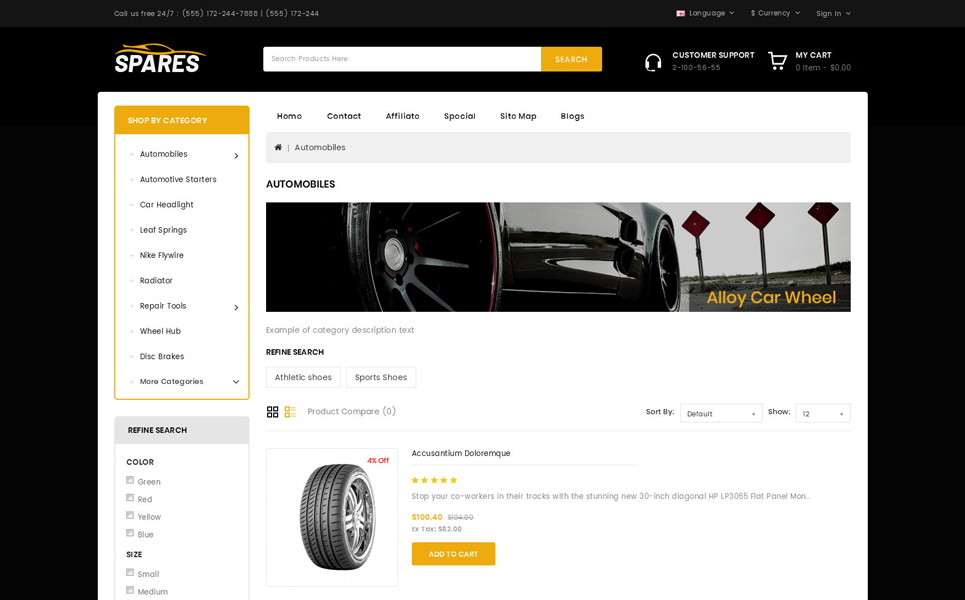 Spares - Auto Wheels Store OpenCart Template
